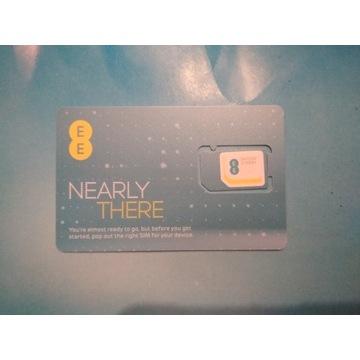 Aktywna karta SIM EE UK roaming PL EU konto 3.7GBP