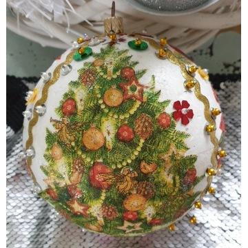 Bombka, kula Boże Narodzenie-decoupage