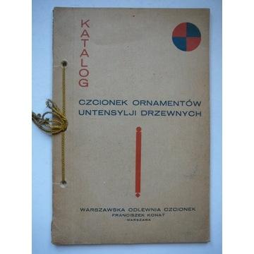 KATALOG CZCIONEK - WARSZAWA 1930 - WZORNIK - DRUK