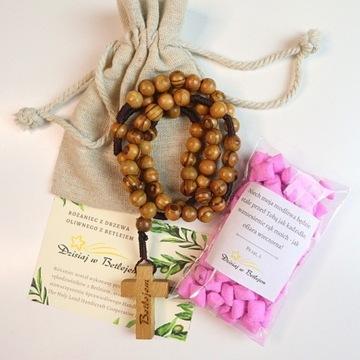 Różaniec z drzewa oliwnego oraz kadzidło | zestaw