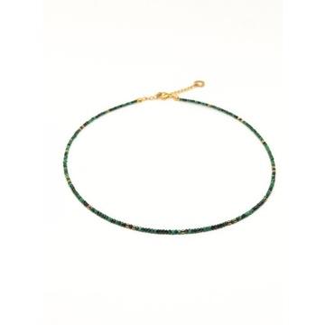 Naszyjnik naturalny zielony malachit złoty hematyt