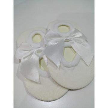 Skarpetki dla niemowląt z kokardką białe 3 szt.