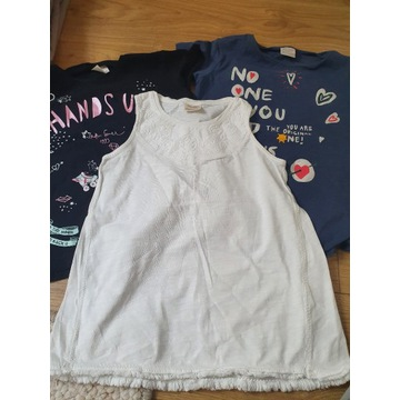 zestaw koszulek dziewczecych 128 x3 szt
