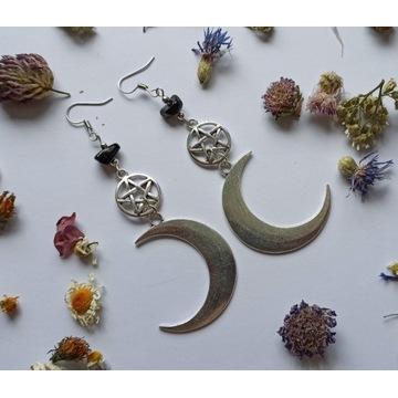 Kolczyki obsydian pentagram księżyc witch moon