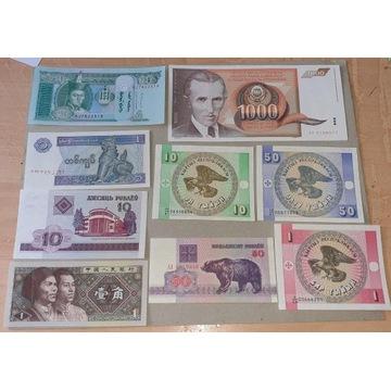 Banknoty Swiata  zestaw 16 sztuk UNC