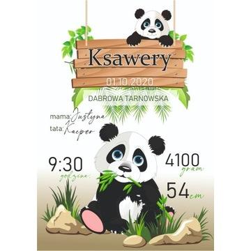 METRYCZKA dla dziecka A4 panda eukaliptus