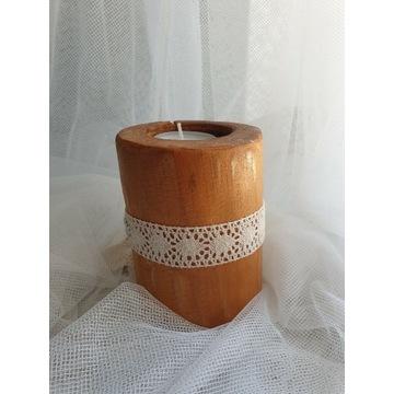 Oryginalny drewniany świecznik 11.5 cm TEA LIGHT