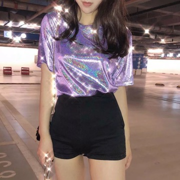 Błyszcząca bluzka kawaii pastel goth harajuku