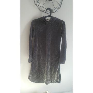 Sukienka tunika błyszcząca 164 Kappahl z kapturem