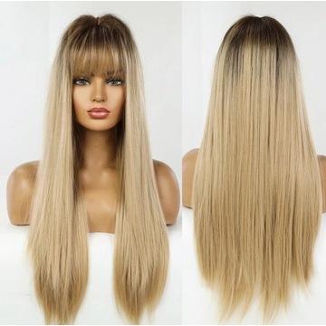 Mega długa blond prosta peruka z grzywką ombre