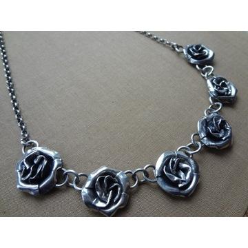Srebrny Naszyjnik 925 Kolia Różyczki Róża UNIKAT!