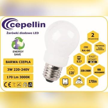 Żarówka LED A50-CP 3W. 2700K, 130LM, Gwint  E27