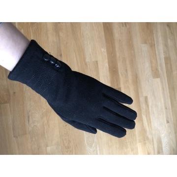 Czarne dłuższe rękawiczki z guzikami r. 6,5