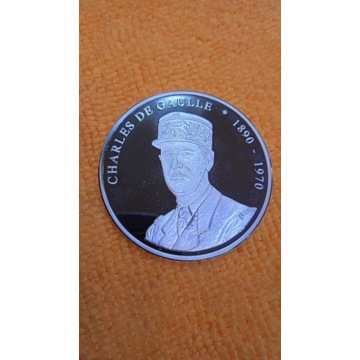 Medal PROOF Charles De Gaulle1890-1970 srebrny 999