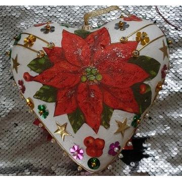 Serce, Bombka Boże Narodzenie-decoupage