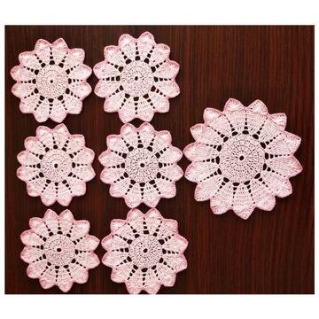 Serwetki szydełkowe ( podkładki ) różowe, kpl.7szt