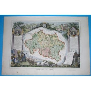 1850 ORYGINAŁ DEKORACYJNA MAPA Francja OWERNIA