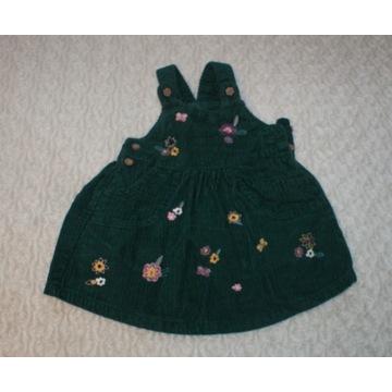 Sukienka ogrodniczka sztruksowa George 3-6m