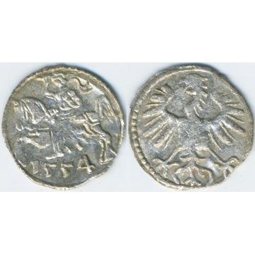 Denar Wilno 1554 -ładny połysk menniczy-