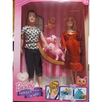 lalka w ciazy rodzinka dziecko zestaw