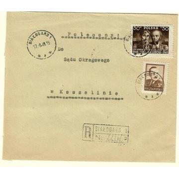 Koperta z 1949r ze znaczkiem nr 472 i 451