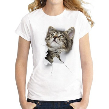 T-shirt, koszulka damska kot