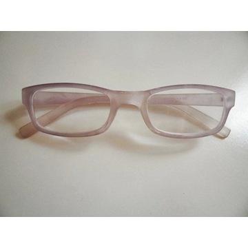 Śliczne blado różowe okulary szkła +3