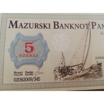 Mazurski banknot pamiątkowy lokalny 5 szekli