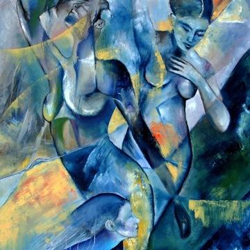 A.Kotarska-THREE -b.duży obraz olejny- 80x100