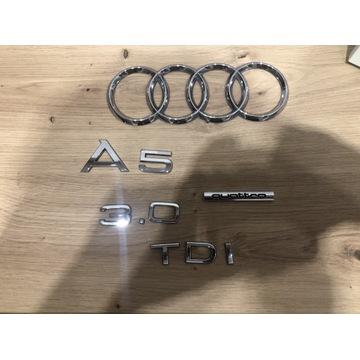 Emblematy na klapę Audi a5 3.0 tdi quattro