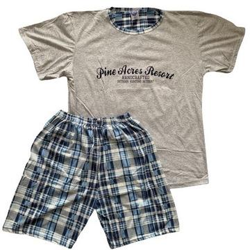 Piżama męska kr.rękaw+spodenki w modną kratę r.2XL