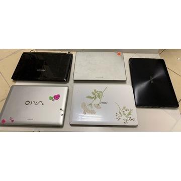 Zestaw uszkodzonych laptopów