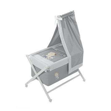 Mini łóżeczko na kółkach z baldachimem i pościelą
