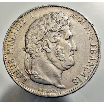 Ludwik FILIP I, 5 Francs 1845 W