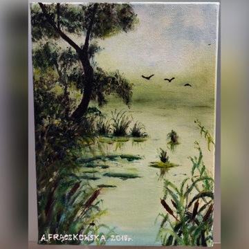 Obraz olejny 18x24 cm pejzaż jezioro od autora