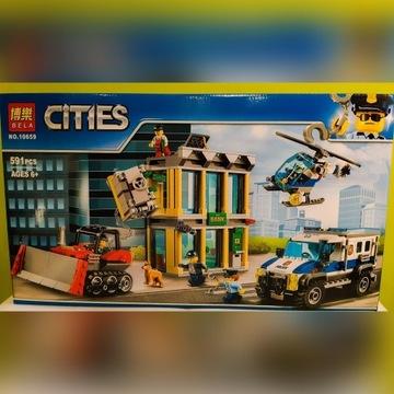 Klocki Napad na Bank włamanie buldożerem jak Lego