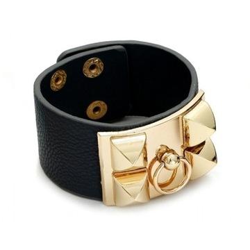 Czarno - złota Bransoleta ze złotą kołatką