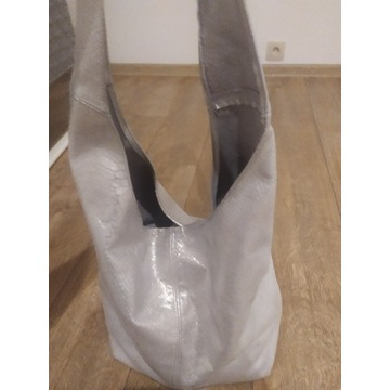 Torebka- worek skóra naturalna srebrna