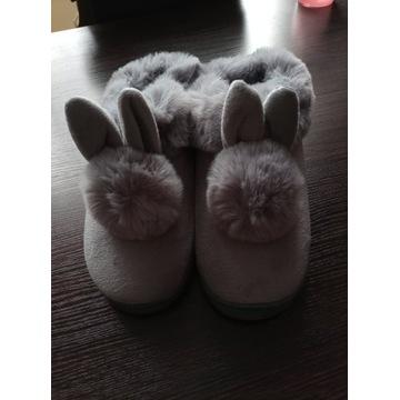 Kapcie pluszowe króliczki szare dla pań