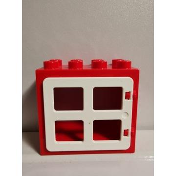 LEGO DUPLO czerwone okno białe oryginalne 2x4