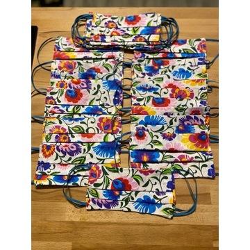 Bawełniane maseczki wzory łowickie i inne