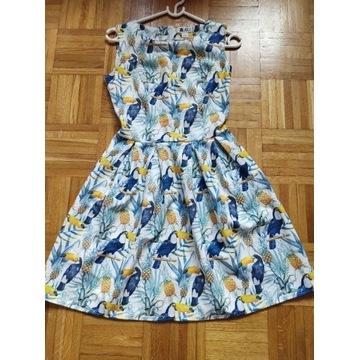 Letnia sukienka marki Vubu w tukany, rozmiar XS/34