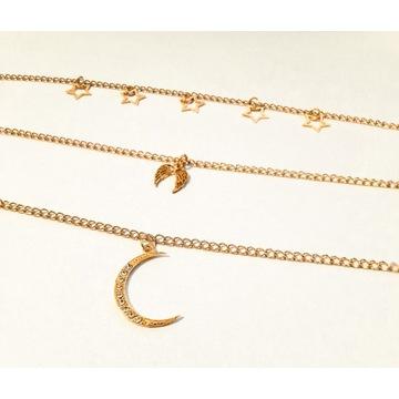 Złoty naszyjnik damski 3w1 warstwowy księżyc