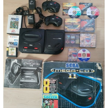 __ SEGA Mega Driver Mega CD + 3 Gry ANG BOX __