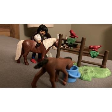 Playmobil weterynarz z źrebakiem i kucykiem.