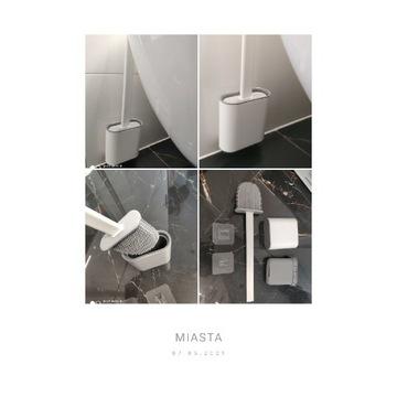 Szczotka do WC z podstawką silikonowa płaska biała
