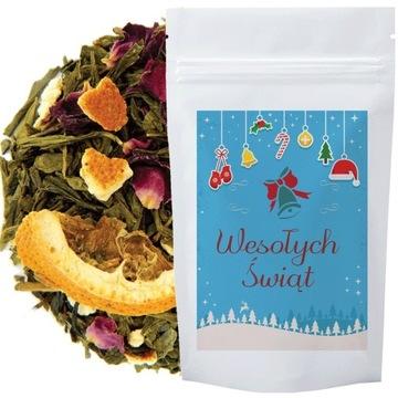 Herbata Świąteczna Sencha Pomarańczowa Zielona 50g