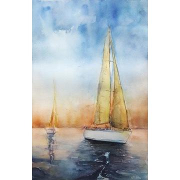 Akwarela ręcznie malowana żagle jachty łódki 55x37