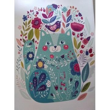 Obraz kotek z kwiatkami