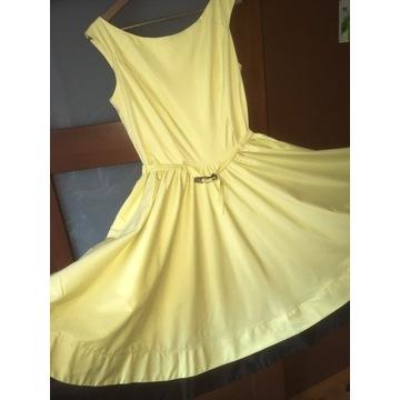 Sukienka jasnożółta MONA rozm.42 stan idealny OKAZ